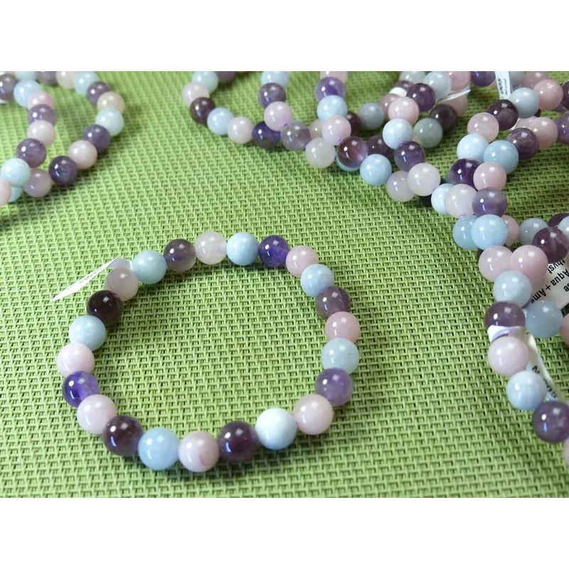 Bracelet Améthyste + Aigue Marine + Quartz Rose Q Extra perles de 8 mm