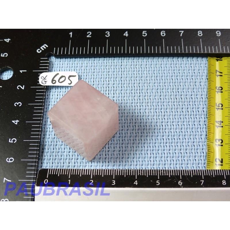 Cube poli en Quartz Rose Q Extra Brésil 32g 23mm