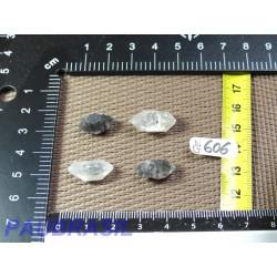 4 pointes biterminées cristal de roche dit diamant de Chine pour lithothérapie 6g