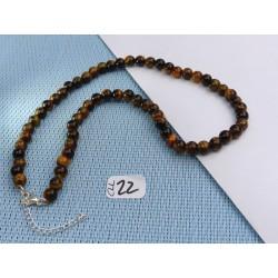 Collier Oeil de Tigre Q Extra en perles de 6mm 42cm environ