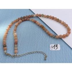 Collier Pierre de lune Orthose Q Extra en perles de 6mm 42cm environ
