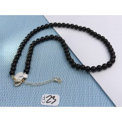 Collier 42cm environ Onyx Q Extra en perles de 6mm