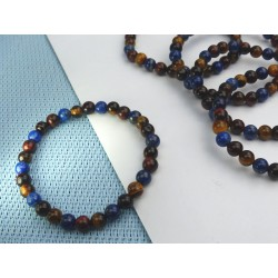 Bracelet Oeil de Tigre - Oeil de Taureau - Lapis Lazuli Q Extra en perles de 6mm