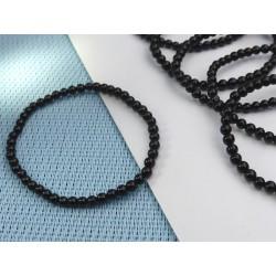 Bracelet Tourmaline Noire Schorl Q Extra en perles de 4mm