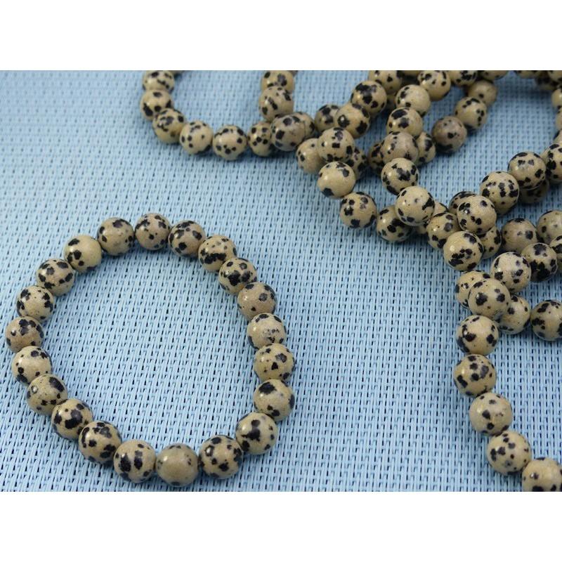 Bracelet Jaspe Dalmatien LamparcienQ Extra en perles de 8mm