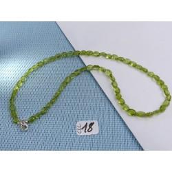 Collier en perles aplaties 7mm environ en Péridot Q Extra 44cm environ
