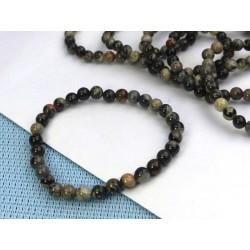 Bracelet Jaspe Feuille d'Argent Q Extra en perles de 6mm